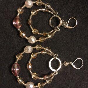 Beaded hoop gold earrings.